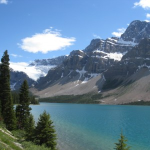 Rocky Mountains and an emerald green lake